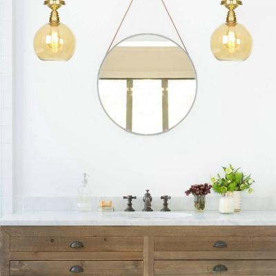 Study Room Globe Ceiling Mount Light Amber Glass 1 Light Vintage Style Brass Flush Light