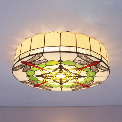 Tiffany Rustic White Flush Mount Light Drum Stained Glass Ceiling Fixture with Dragonfly for Kid Bedroom