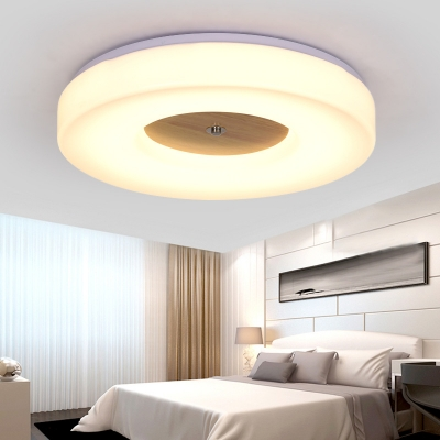 White Round Flush Mount Light Simple Style Acrylic Ceiling Lamp in Warm/White for Living Room