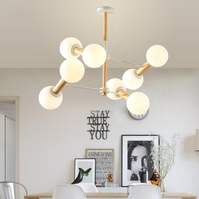 Globe Shape Living Room Chandelier Milk Glass Wood Nordic Stylish Hanging Light in White