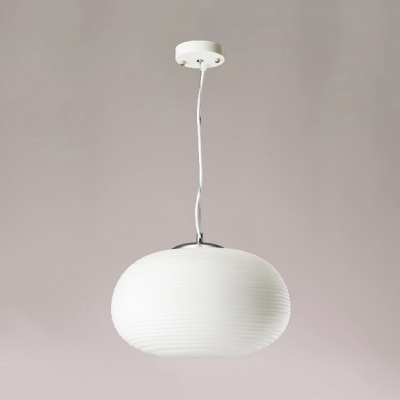 White Ridged Hanging Light 1 Bulb Modern Simple Milk Glass Pendant Light for Dining Room