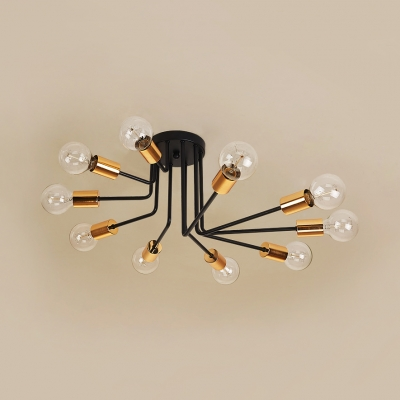 6/10 Lights Open Bulb Semi Flush Ceiling Light Traditional Metal Light Fixture in Black for Bedroom Restaurant Hotel