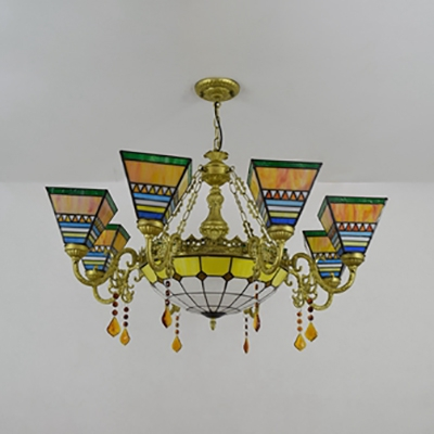 9 Lights Pyramid Chandelier with Crystal Tiffany Style Stained Glass Pendant Light for Dining Room