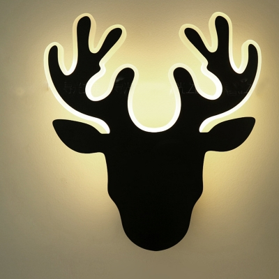 Acrylic Deer LED Wall Light Adult Kid Bedroom Modern Black/White Scone Light in White/Warm