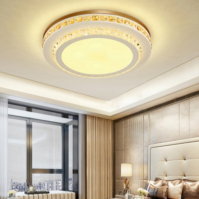 Acrylic Hexagon/Rhombus/Round Ceiling Light with Crystal Decoration Modern Ceiling Lamp in White for Bedroom