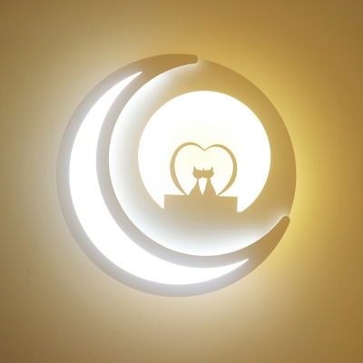 Acrylic Round LED Sconce Light Lovely White Wall Light with Moon in Warm for Girl Boy Bedroom