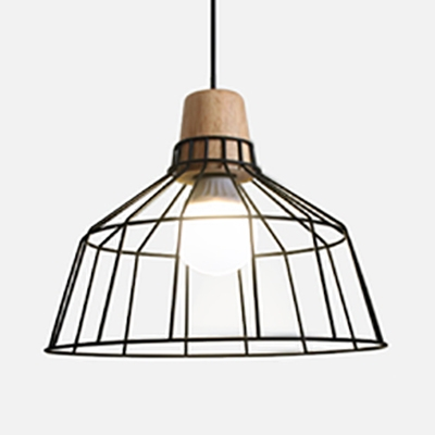 Antique Stylish Barn/Tapered Suspension Light 1 Light Metal Hanging Light in Black for Kitchen