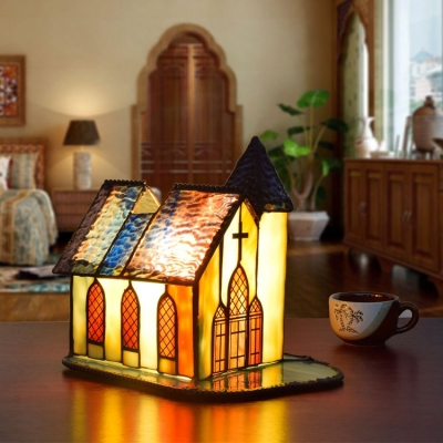 Antique Tiffany Church Table Light Stained Glass 1 Light Desk Light with/without Cross for Bedroom