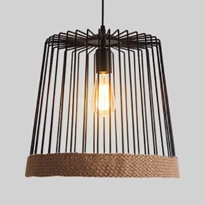 Balcony Trapezoid Cage Pendant Light Metal 1 Light Industrial Black/White Hanging Lamp with Rope Edge