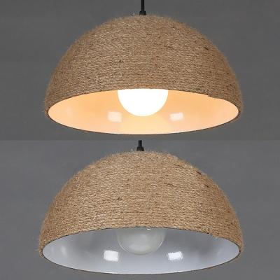 Beige Dome Shade Hanging Lamp 1 Light Rustic Stylish Manila Rope Pendant Light for Bar Cottage