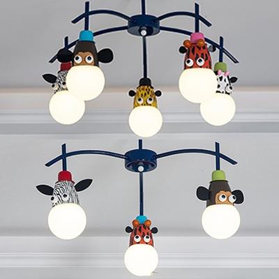Boy Girl Bedroom Animal Ceiling Light Metal 3/5 Lights Creative Dark