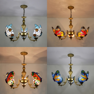 Butterfly Bedroom Ceiling Lamp Glass 3 Lights Tiffany Style