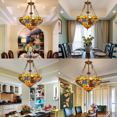 Cone Shade Restaurant Pendant Lamp Stained Glass Tiffany Style Rustic Chandelier