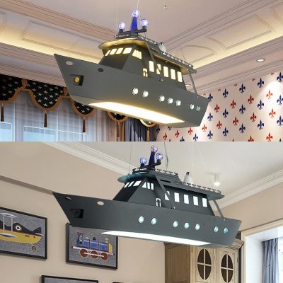 Creative Warship Shade LED Chandelier Metal Gray Hanging Lamp for Boy Bedroom Kindergarten