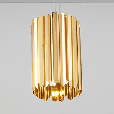 Cylinder Living Room Ceiling Light Stainless Steel 1 Light Modern Hanging Lamp in Black/Chrome/Gold