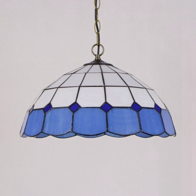 Glass Bowl Shade Pendant Light Multi-Color Choice 1 Light Tiffany Style Hanging Lamp for Bedroom