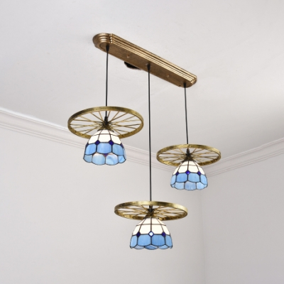 Glass Grid Dome Suspension Light with Wheel Dining Table 3 Lights Antique Stylish Pendant Lamp in Brass