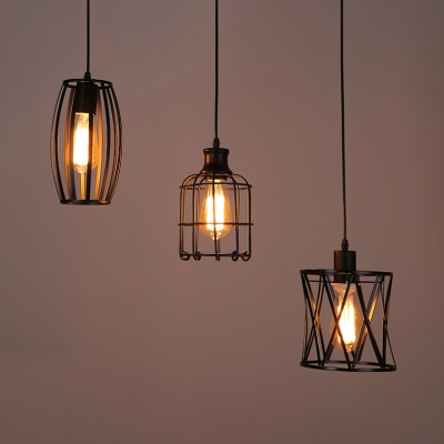 Black Wire Frame Pendant Light Three
