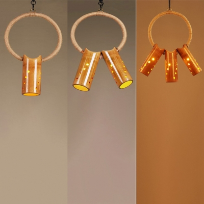 Hollow Tube Shade Hanging Lamp 1/2/3 Lights Rustic Style Bamboo Suspension Light for Bar