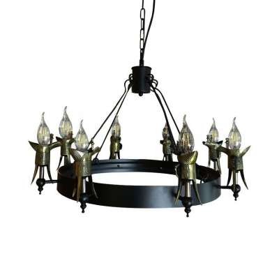 Iron Wrought Round Chandelier with Ancient Cup 8 Lights Vintage Pendant Light in Black for Cafe