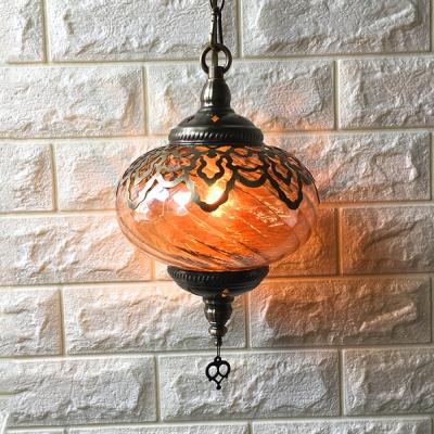 Lantern Shape Cafe Hanging Light Swirl Glass One Head Moroccan Style Pendant Light in Amber