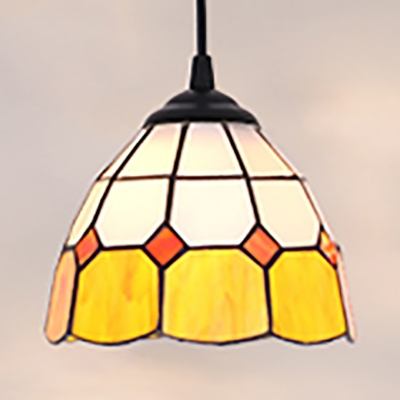 Lattice Bowl Bedroom Pendant Light Glass 1 Light Tiffany Modern Yellow Ceiling Light with Black/White Chain