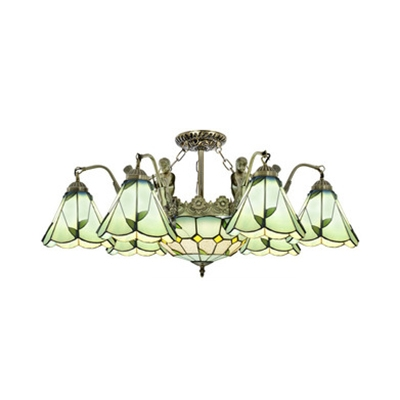 Living Room Cone Dome Semi Flush Light Glass 7/9/13 Lights Rustic Style Ceiling Light with Mermaid