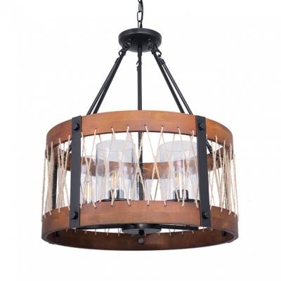 Living Room Drum Shade Chandelier Wood