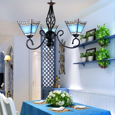 Mediterranean Style Craftsman Chandelier Glass 3 Lights Blue Pendant Lamp for Shop Cafe