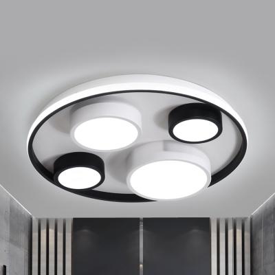 Nordic Black&White LED Flush Mount Light Round Acrylic Ceiling Light in Warm/White for Child Bedroom