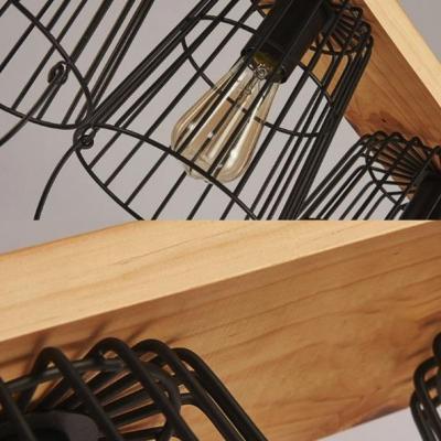 Retro Loft Bucket Caged Island Pendant Edison Bulb 5 Lights Black Island Light for Restaurant Cafe