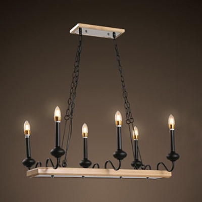 Retro Loft Candle Island Light 6 Heads Metal Wood Island Chandelier in Black for Restaurant Bar