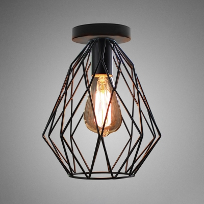 Retro Style Wire Frame Flush Ceiling Light 1 Head Iron Ceiling Fixture in Black Finish for Stair, HL537231