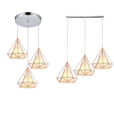 Rose Gold Diamond Cage Pendant Light 3 Lights Metal Hanging