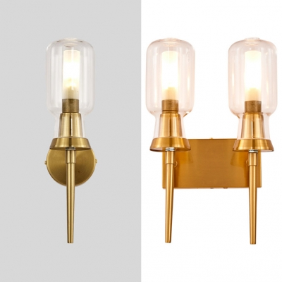 Simple Style Brass Wall Light Tube Shade 1/2 Lights Clear Glass Metal Sconce Light for Bathroom