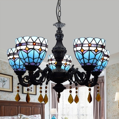 Stained Glass Dome Chandelier Light Foyer 5 Lights Mediterranean Style Pendant Lamp in Blue