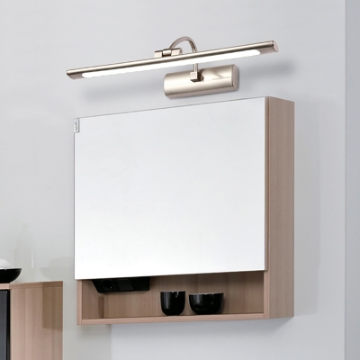 Stainless Steel Tube Vanity Light Mirror Antifogging Nickle LED Wall Sconce with White Lighting