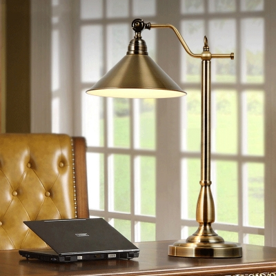 Study Room Conical Shade Desk Light Metal 1 Head Industrial Brass Rotatable Study Light