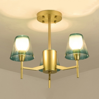 Traditional Style Tapered Shade Chandelier Metal 3 Lights Brass Pendant Lamp for Bedroom Foyer
