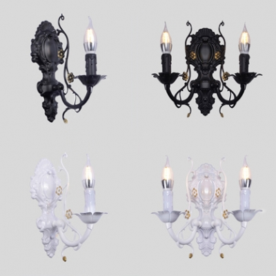 Vintage Style Candle Wall Light 1/2 Lights Metal Carved Sconce Light in Black/White for Bedroom