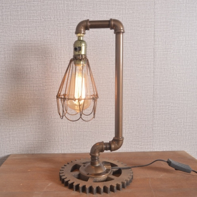 Vintage Style Conical Cage Desk Light 1 Light Edison Bulb Plug In Study Light for Bedroom