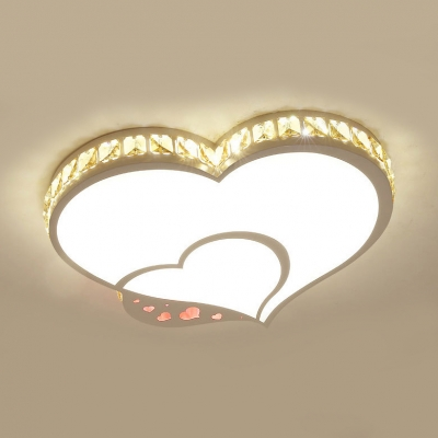White Heart LED Ceiling Light Modern Acrylic Crystal Flush Mount Light with White Lighting for Bedroom
