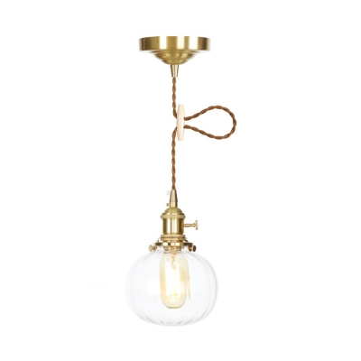 1/2 Pack Clear Glass Suspension Light with Adjustable Cord Melon Industrial Pendant Lamp for Bedroom