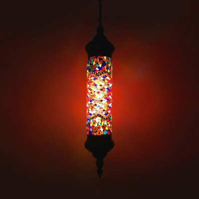1 Head Flute Suspension Light Moroccan Style Glass Hanging Light for Cafe Restaurant Pack of 1/4(Random Color Delivery)