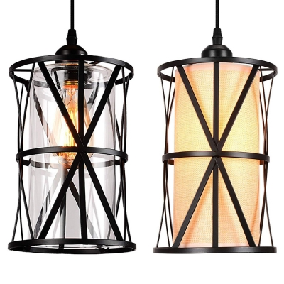1 Light Cylinder Hanging Lamp With Cage Clear Gl Flax