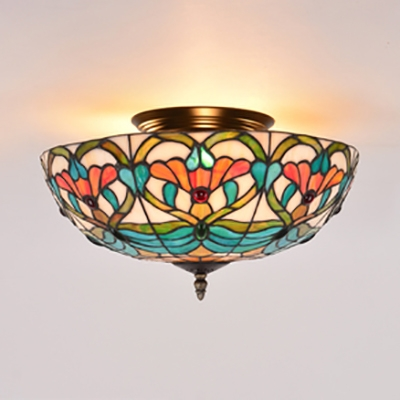 16 Inch Bowl Shade Ceiling Light Traditional Stained Glass Semi Flushmount Light for Study Room