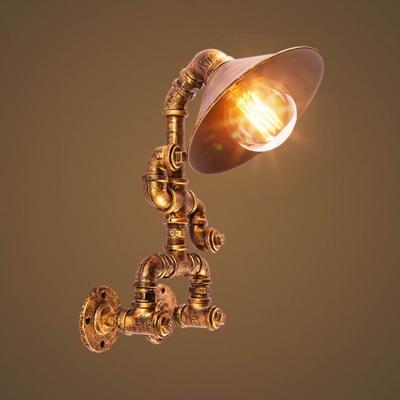 Industrial Pipe Robot Wall Light Metal Single Light Aged Brass Sconce Light for Restaurant