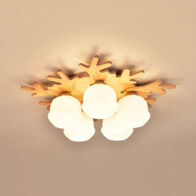 Beige Antlers LED Flush Ceiling Light 3/5/7 Heads Rustic Stylish Wood Ceiling Lamp for Study Room