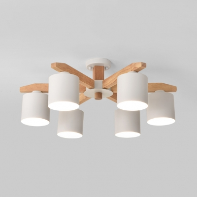Cylinder Shade Living Room Ceiling Light Wood 5/6/8 Lights Contemporary LED Semi Flush Light in White