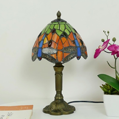 1 Light Dragonfly Desk Lamp Tiffany Antique Stained Glass Table Light in Blue/Orange for Bedroom